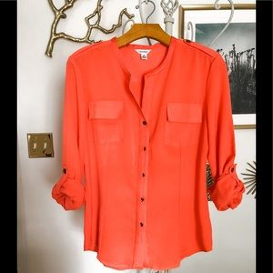 NWOT Calvin Klein Orange Button Down